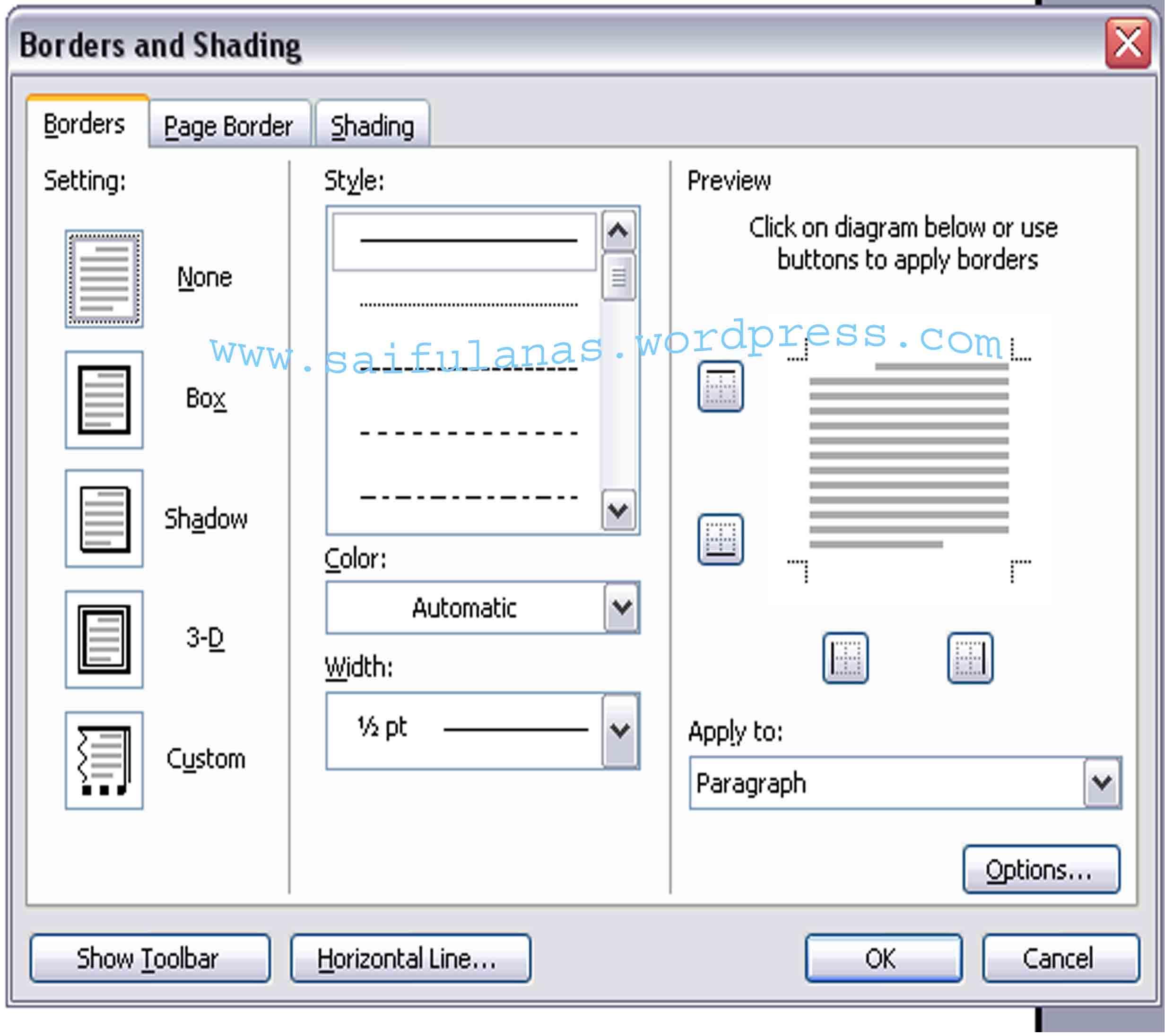 Instal border di ms word 2003 glance technology lalu pilih tab page border klik tanda panah pada art bila di ms word belum ada maka akan kosong dan otomatis akan langsung nginstal sendiri ccuart Gallery
